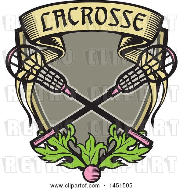 Vector Clip Art of Retro Woodcut Pink Ball and Pink Handled Lacrosse Sticks with a Banner and Leaves