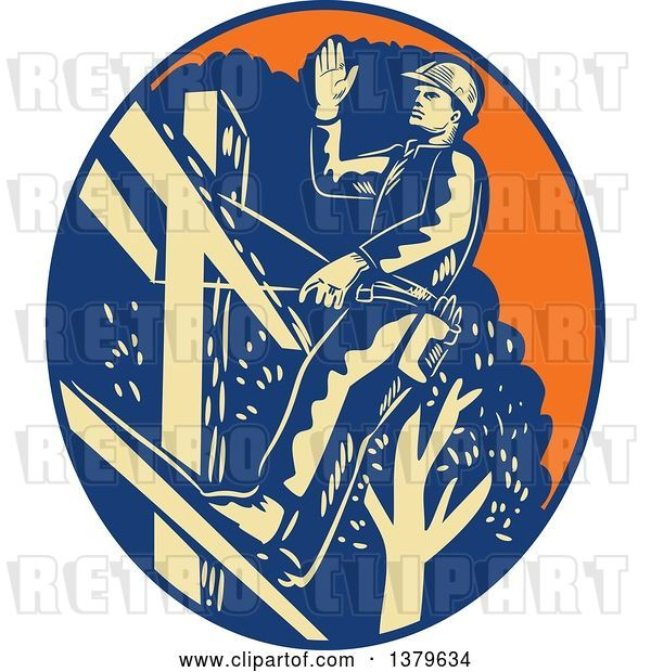 Vector Clip Art of Retro Woodcut Power Lineman Waving in an Orange Yellow and Blue Oval