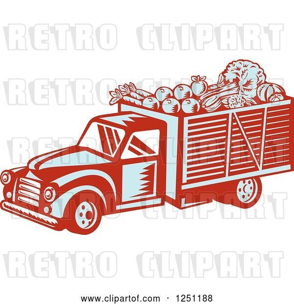 Vector Clip Art of Retro Woodcut Produce Delivery Truck