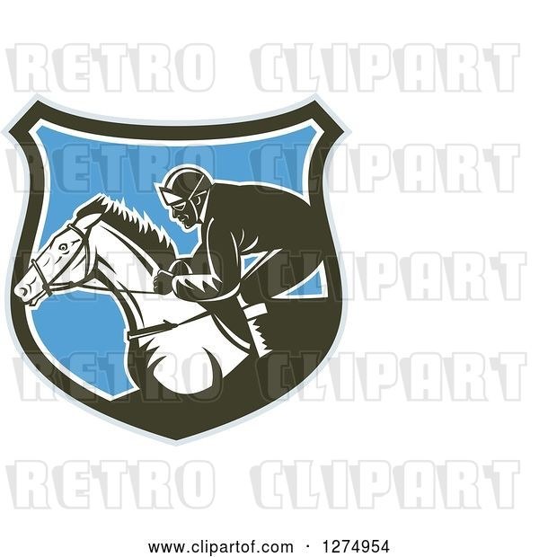 Vector Clip Art of Retro Woodcut Racing Jockey in a Gray Brown White and Blue Shield