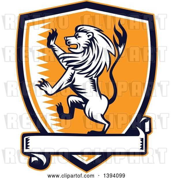 Vector Clip Art of Retro Woodcut Rampant Lion in a Black White and Orange Shield with a Banner