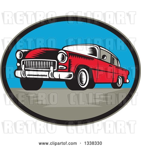Vector Clip Art of Retro Woodcut Red Classic Car in an Oval