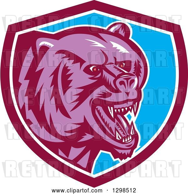 Vector Clip Art of Retro Woodcut Red Eyed Purple Vicious Grizzly Bear in a Maroon White and Blue Shield