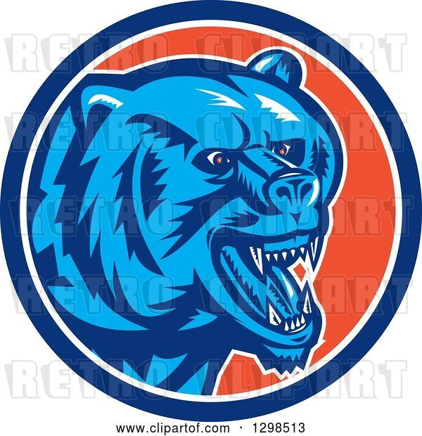Vector Clip Art of Retro Woodcut Red Eyed Vicious Grizzly Bear in a Blue White and Orange Circle