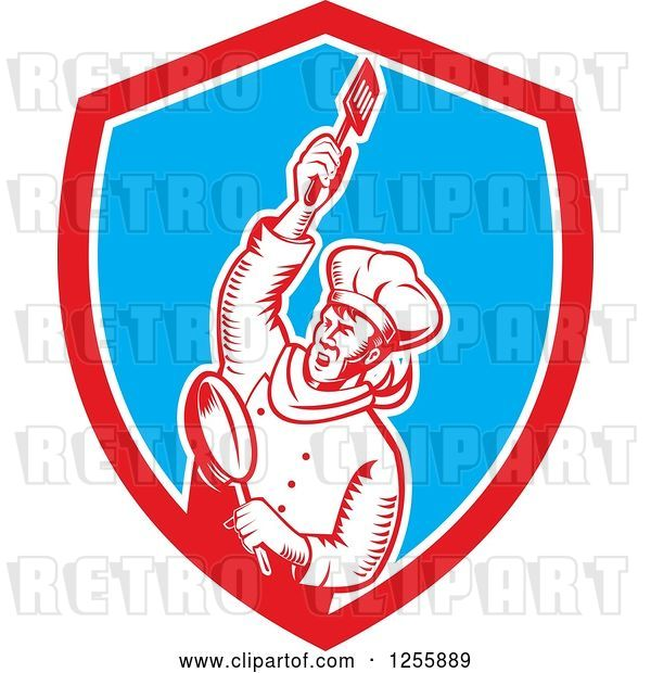 Vector Clip Art of Retro Woodcut Revolutionary Chef with a Spatula and Frying Pan in a Shield