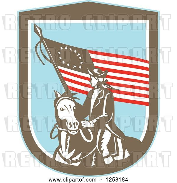 Vector Clip Art of Retro Woodcut Revolutionary Soldier Riding a Horse with an American Betsy Ross Flag in a Brown White and Blue Shield