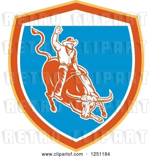 Vector Clip Art of Retro Woodcut Rodeo Cowboy on a Bull in a Yellow Orange White and Blue Shield