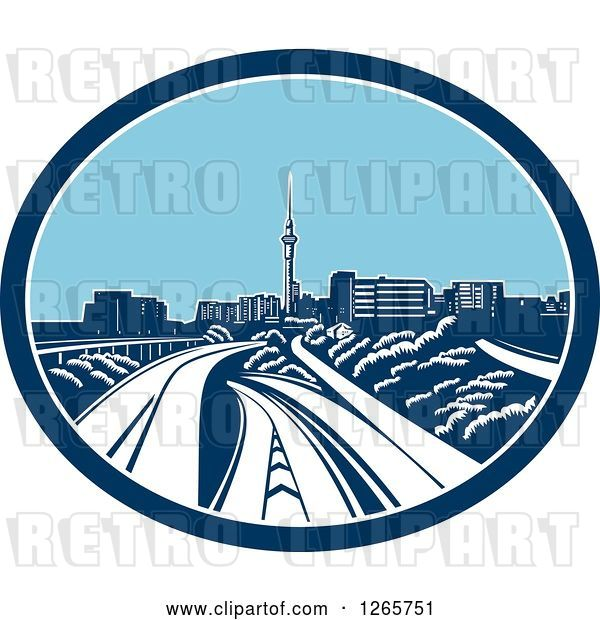 Vector Clip Art of Retro Woodcut Scene of the Sky Tower and the Skyline of Auckland, New Zealand