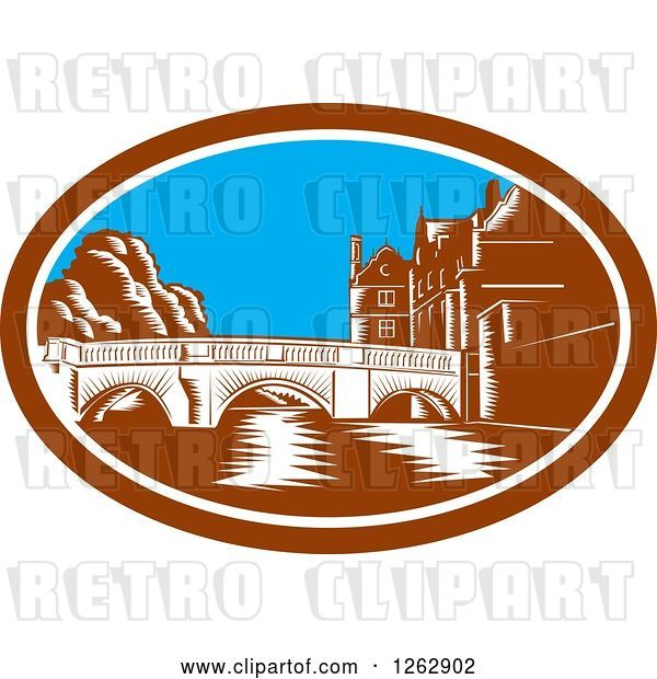 Vector Clip Art of Retro Woodcut Scene of the Trinity College Bridge in Cambridge, England Spanning the River Cam