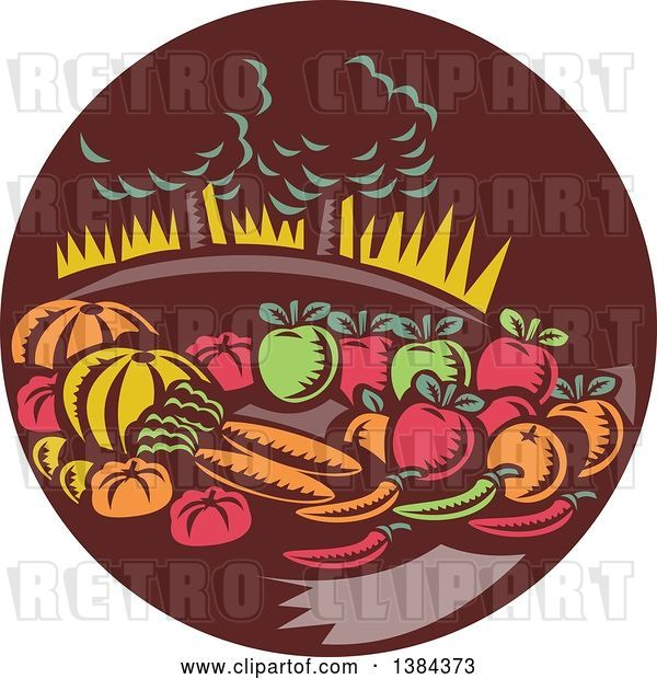 Vector Clip Art of Retro Woodcut Still Life of Harvest Vegetables and Fruit with Trees in a Brown Circle