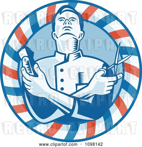 Vector Clip Art of Retro Woodcut Styled Barber Holding Clippers and Scissors in a Striped Circle