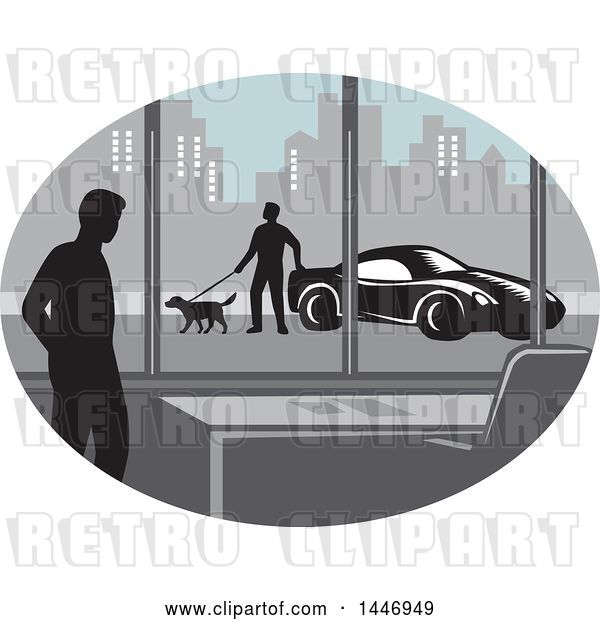 Vector Clip Art of Retro Woodcut Styled Silhouetted Guy in an Office Building and Person Walking a Dog by a Car Outside in a City