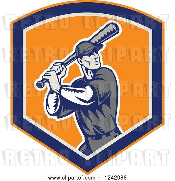Vector Clip Art of Retro Woodcut Swinging Baseball Player Guy in a Shield
