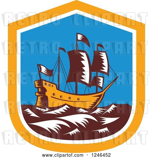 Vector Clip Art of Retro Woodcut Tall Galleon Ship at Sea in a Shield