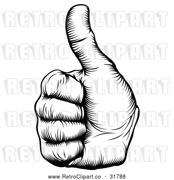 Vector Clip Art of Retro Woodcut Thumb up Hand