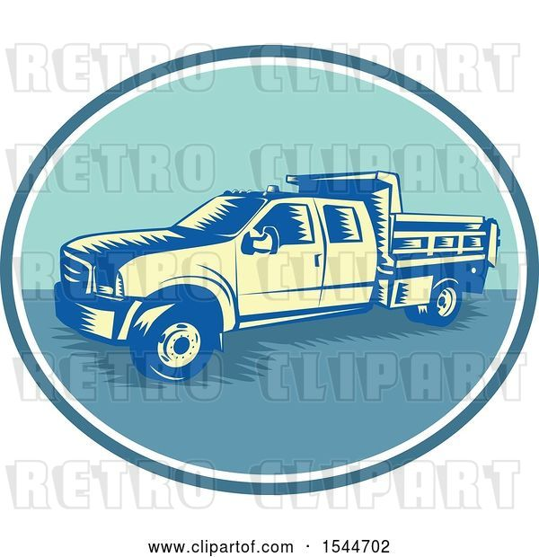 Vector Clip Art of Retro Woodcut Tipper Dump Pick up Truck with an Open Box Bed