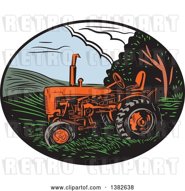 Vector Clip Art of Retro Woodcut Tractor in an Oval of Farm Land