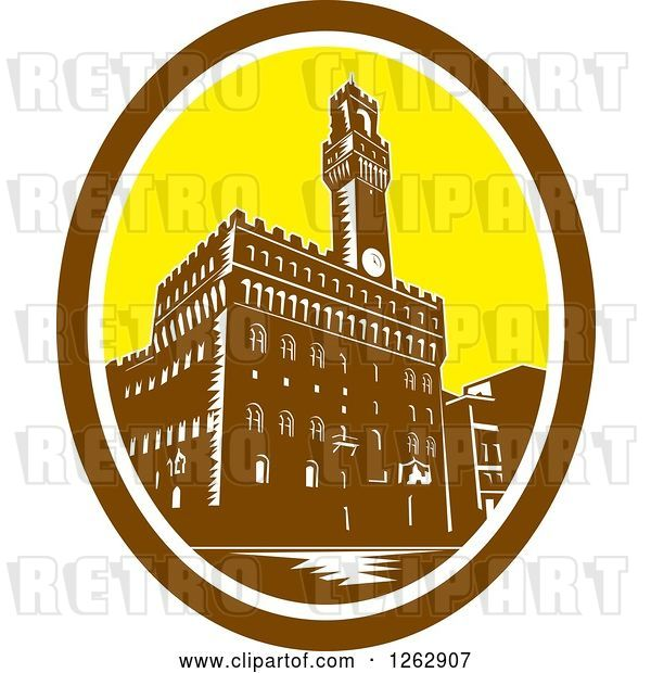 Vector Clip Art of Retro Woodcut View of the Tower of Palazzo Vecchio in Florence, Firenze, Italy