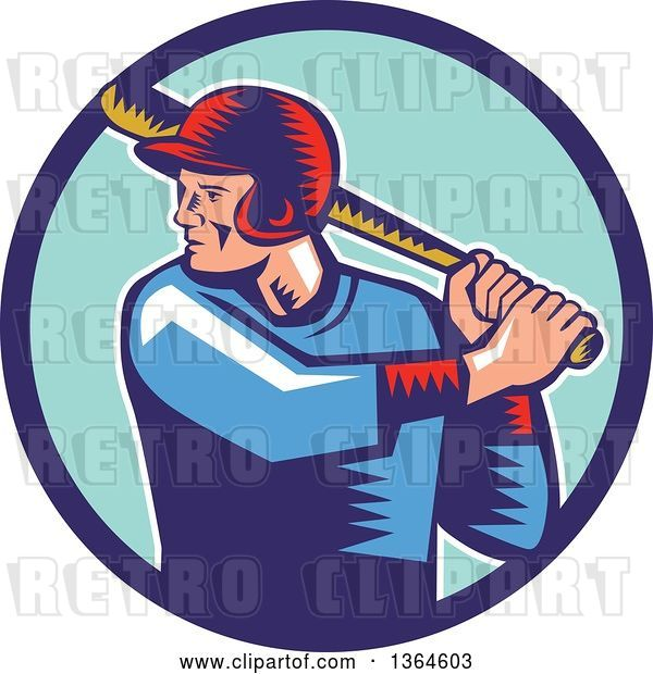 Vector Clip Art of Retro Woodcut White Male Baseball Player Athlete Batting in a Blue Circle