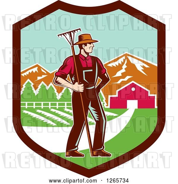 Vector Clip Art of Retro Woodcut White Male Farmer with a Rake on a Farm Inside a Shield