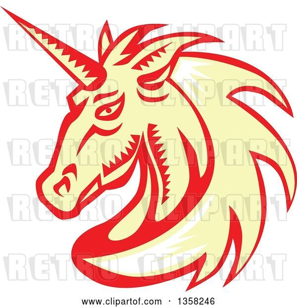 Vector Clip Art of Retro Woodcut White, Yellow and Red Unicorn Head