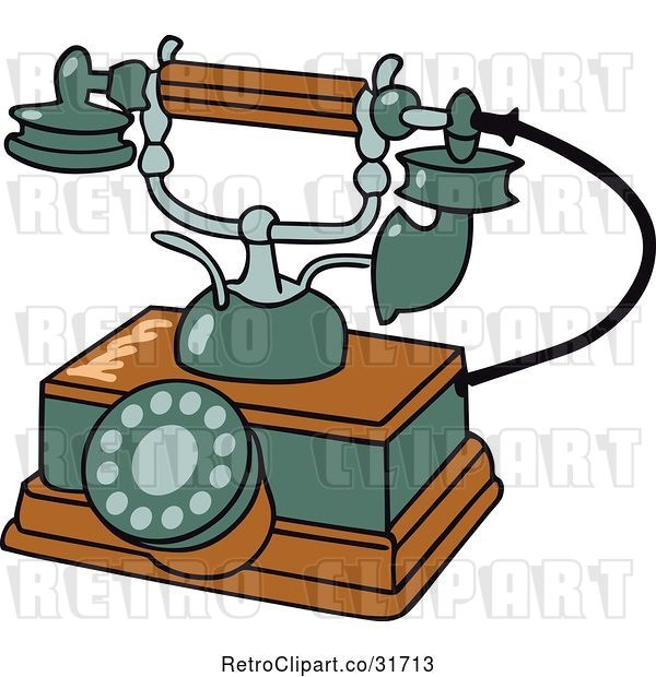 Vector Clip Art of Retro Wooden and Green Phone