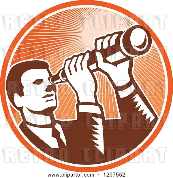 Vector Clip Art of Retro Woodut Business Man Looking Through a Telescope in an Orange Ray Circle
