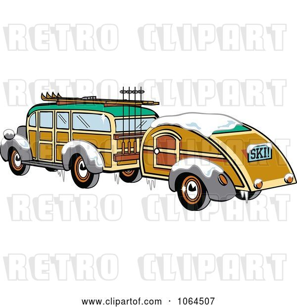 Vector Clip Art of Retro Woody Sedan with Skis and a Trailer