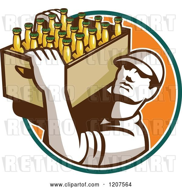 Vector Clip Art of Retro Worker Carrying a Case of Beer Bottles