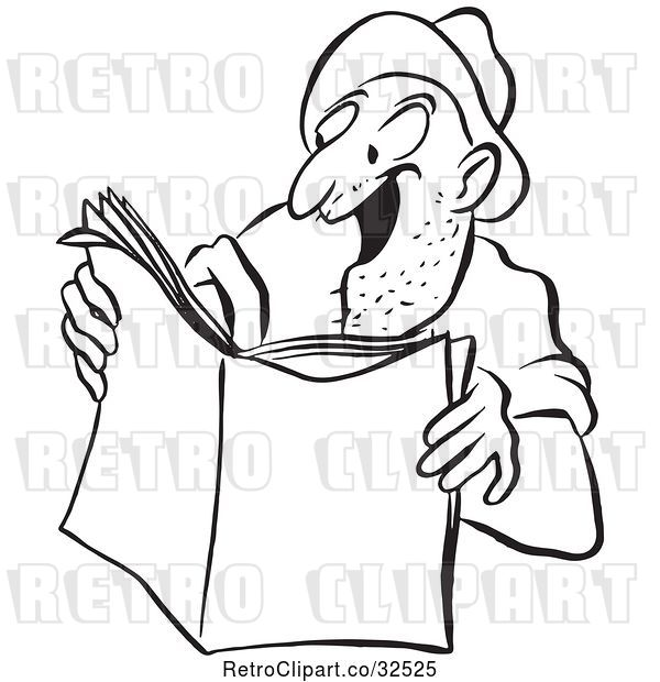 Vector Clip Art of Retro Worker Guy Reading an Exciting Story