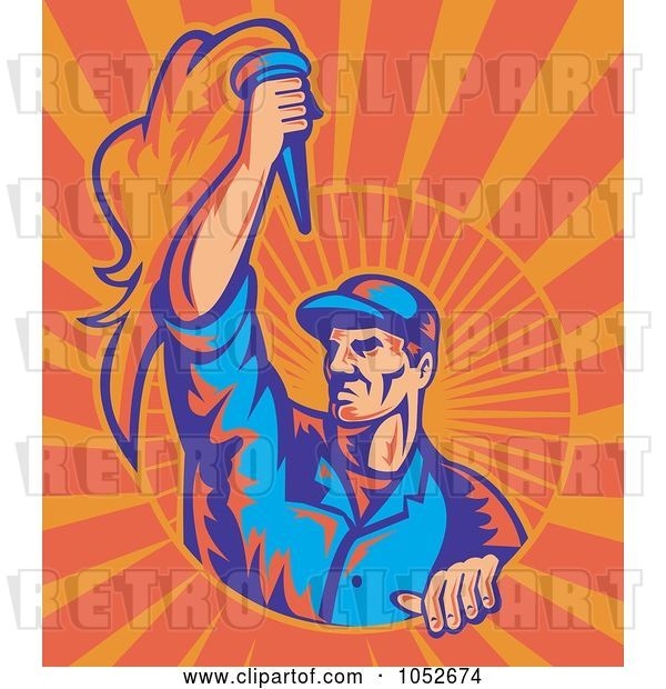 Vector Clip Art of Retro Worker Holding a Torch on Orange Rays