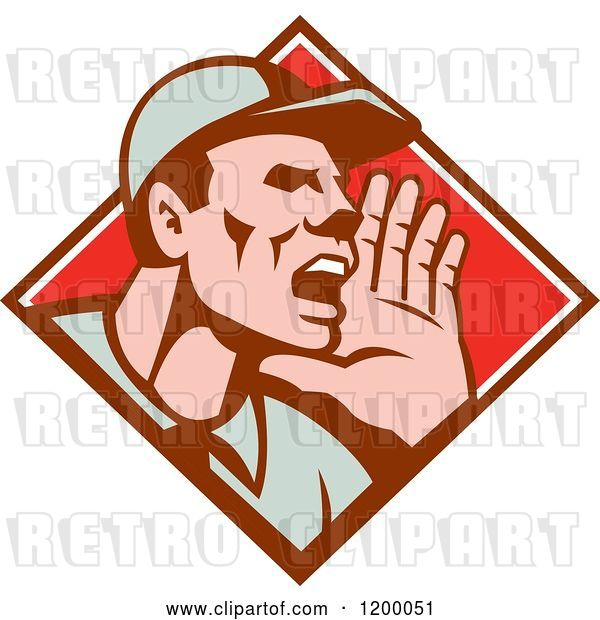 Vector Clip Art of Retro Worker Holding up His Hand and Shouting in a Diamond