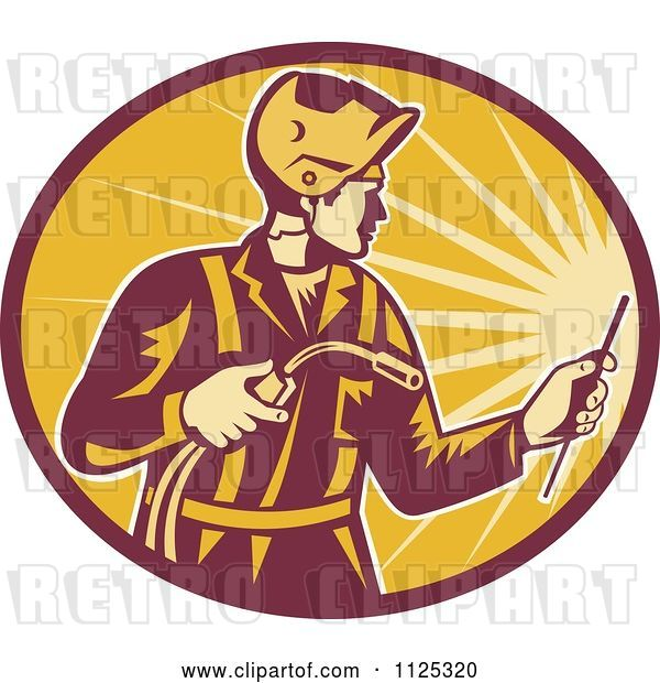 Vector Clip Art of Retro Worker Using a Welding Torch in a Ray Oval