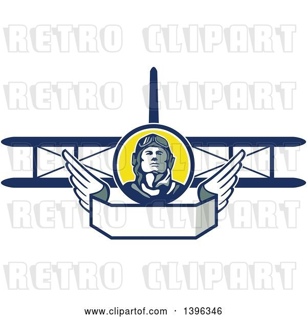 Vector Clip Art of Retro World War One Male Pilot Aviator Looking up over a Wing Banner and Biplane