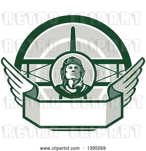 Vector Clip Art of Retro World War One Male Pilot Aviator Looking up over a Wing Banner and Biplane, in Green Tones