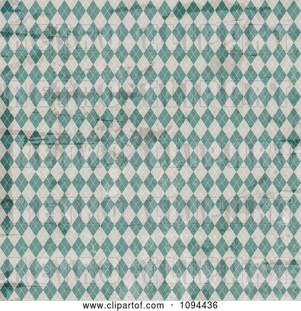 Vector Clip Art of Retro Worn Grungy Green and White Argyle Pattern