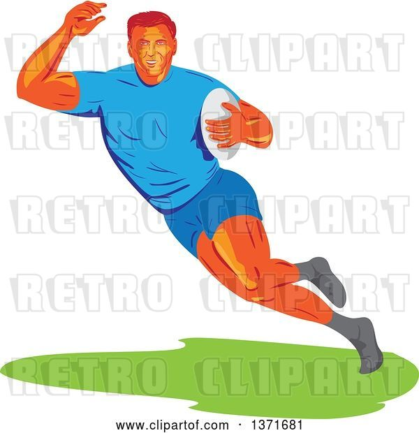 Vector Clip Art of Retro Wpa Styled Male Rugby Player Runing with a Ball