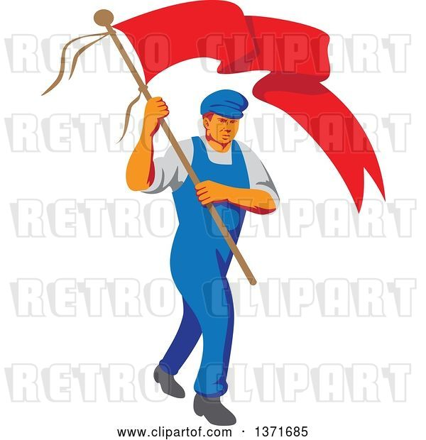 Vector Clip Art of Retro Wpa Styled Male Worker Marching Wtih a Flag