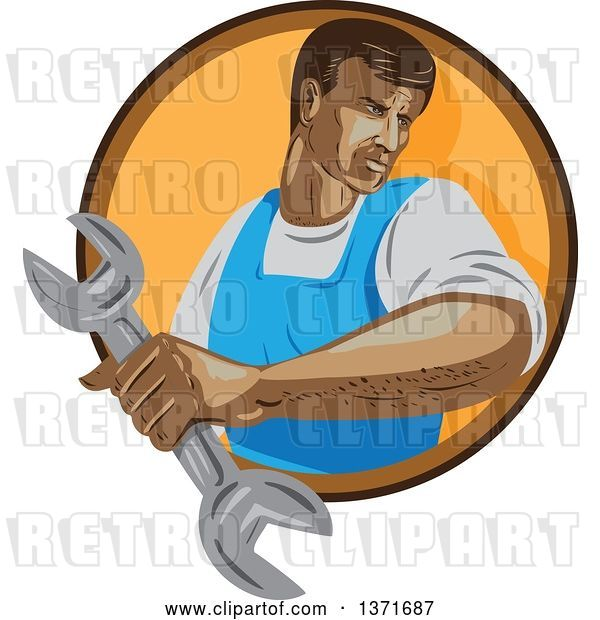 Vector Clip Art of Retro Wpa Styled Mechanic Holding a Wrench and Emerging from a Brown and Orange Circle