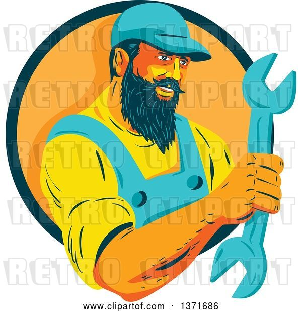Vector Clip Art of Retro Wpa Styled Mechanic with a Beard, Holding a Giant Wrench and Emerging from a Green and Orange Circle