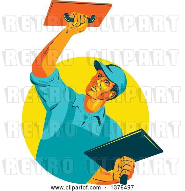 Vector Clip Art of Retro WPA Styled Plasterer Worker Guy Emerging from a Yellow Circle