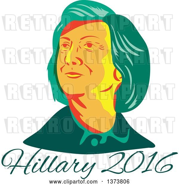 Vector Clip Art of Retro WPA Styled Portrait of Democratic Presidential Nominee Hillary Clinton over Text