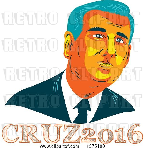 Vector Clip Art of Retro Wpa Styled Portrait of Ted Cruz, Replubican Presidential Candidate, over Text