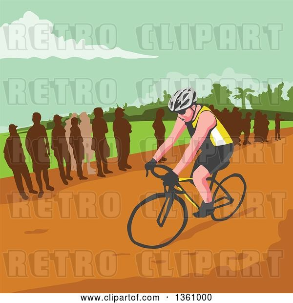 Vector Clip Art of Retro Wpa Styled Silhouetted Crowd Watching a Male Cyclist