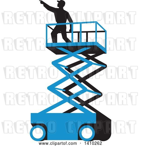 Vector Clip Art of Retro Wpa Styled Silhouetted Male Worker on a Cherry Picker Scissor Lift