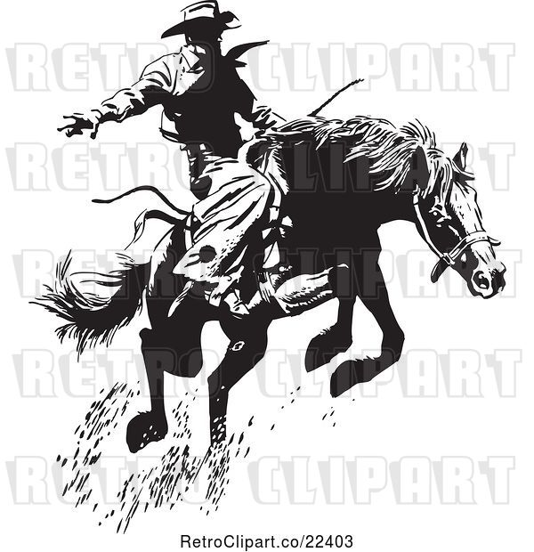 Vector Clip Art of Retro Wrangler Cowboy on a Leaping Horse