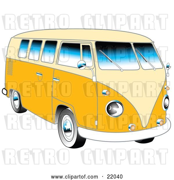 Vector Clip Art of Retro Yellow 1962 VW Bus with Chrome Detail and a Pale Yellow Roof and Accents