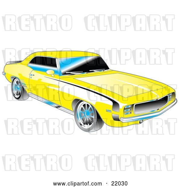 Vector Clip Art of Retro Yellow 1969 Chevrolet RS/SS Camaro Muscle Car with Black Stripes on the Sides and Chrome Detailing