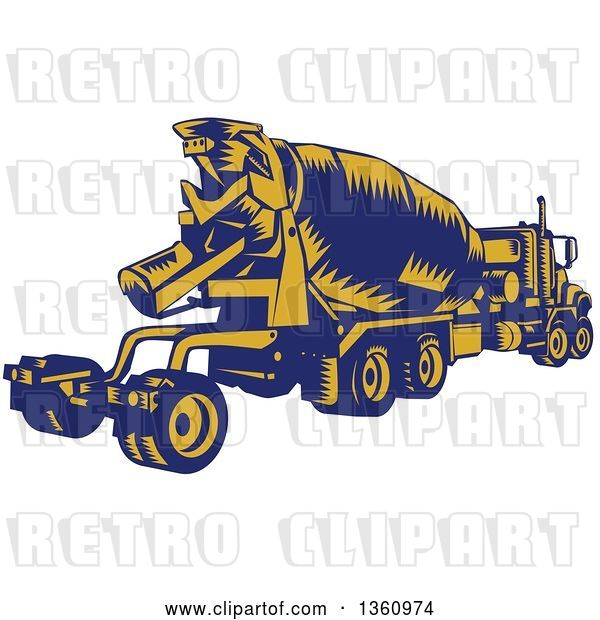 Vector Clip Art of Retro Yellow and Blue Woodcut Cement Truck, Rear View