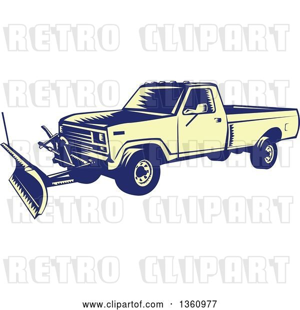 Vector Clip Art of Retro Yellow and Blue Woodcut Snow Plow Truck